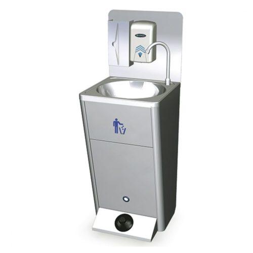 mobiles Handwaschbecken mit Fußbedienung, Papiereimer und Seifen- und Papierspender - Virtus - Gastroworld-24