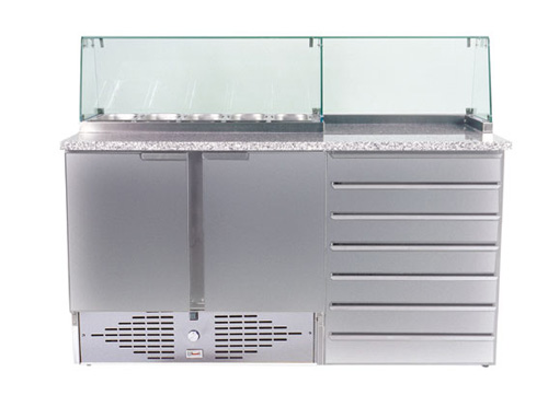 Pizzamaster 160 mit Glasaufsatz 5x GN 1/3 - Produkt - Gastrowold-24 - Ihr Onlineshop für Gastronomiebedarf