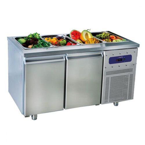 Saladette mit 2 Türen GN 1/1, 4x GN 1/1 H=150 mm, -2°/+8°C - Virtus - Gastroworld-24