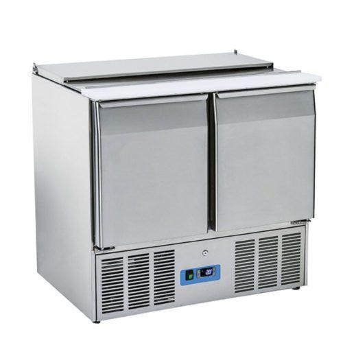 Saladette mit 2 Türen GN 1/1 und Deckel, 6x GN 1/3 + 2x GN 1/4 h=150 mm, 0°/+8°C - Virtus - Gastroworld-24