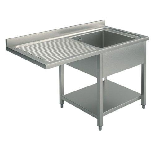 Spültisch mit Zwischenboden für Einbau-Geschirrspüler, 1 Becken rechts, 1400x700 mm - Virtus - Gastroworld-24