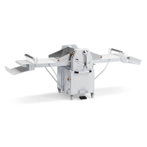 Teigausrollmaschine mit Geschwindigkeitsregler auf Unterbau mit Rädern, Bandmaß 500x1000 mm - Virtus - Gastroworld-24