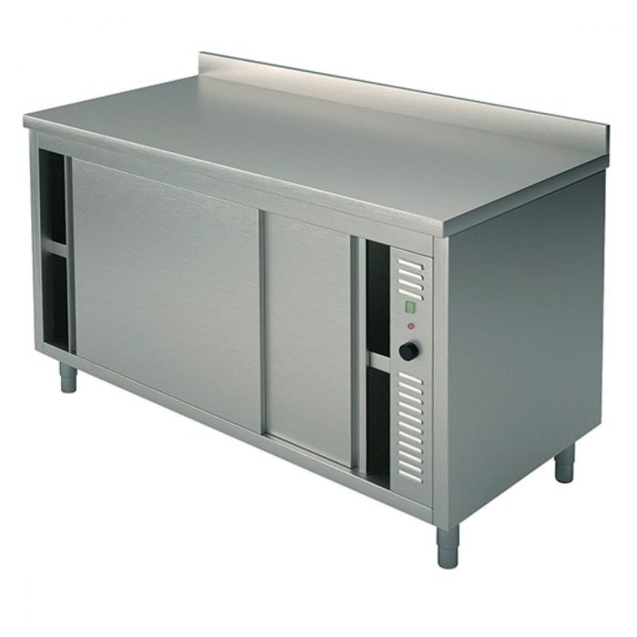 Wärmeschränk mit Schiebetüren, mit Aufkantung, 1600x700 mm - Virtus - Gastroworld-24