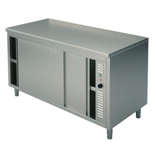 Wärmeschränk mit Schiebetüren, ohne Aufkantung, 1000x600 mm - Virtus - Gastroworld-24