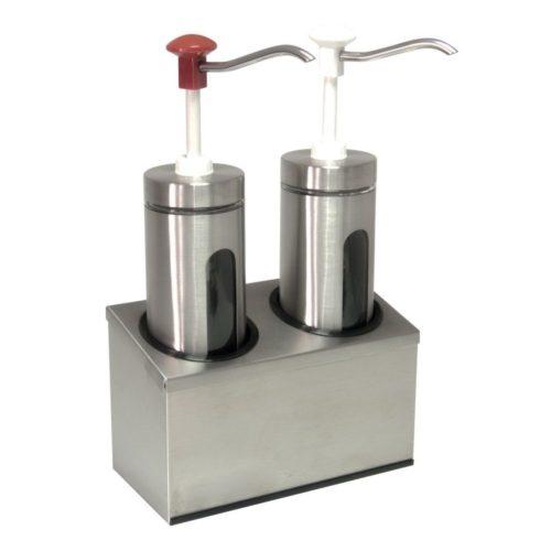 Zylindrischer Soßenspender, 290x145x470mm, Pumpe aus schlag- - GGG - Gastroworld-24