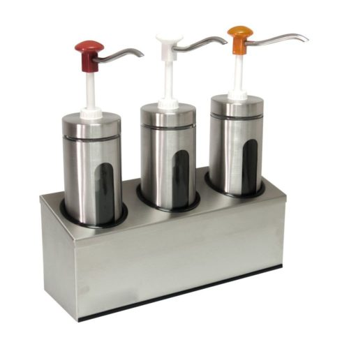 Zylindrischer Soßenspender, 440x145x475mm, Pumpe aus schlag- - GGG - Gastroworld-24